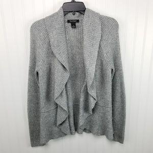 WHBM Small Gray Wool Blend Cardigan Sweater